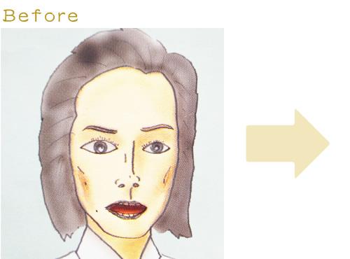 お顔の修整01